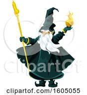 Clipart Of A Wizard Throwing A Fire Ball Royalty Free Vector Illustration by Vector Tradition SM