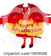 Demon Holding A Happy Halloween Sign