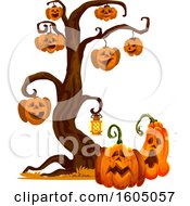 Clipart Of A Tree With Halloween Jackolantern Pumpkins Royalty Free Vector Illustration