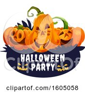 August 15th, 2018: Clipart Of Halloween Jackolantern Pumpkins Over A Party Banner Royalty Free Vector Illustration by Vector Tradition SM