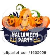 Halloween Jackolantern Pumpkins Over A Party Banner