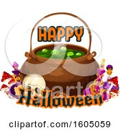 August 15th, 2018: Clipart Of A Happy Halloween Greeting And Cauldron Royalty Free Vector Illustration by Vector Tradition SM