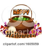 Happy Halloween Greeting And Cauldron