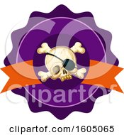 Poster, Art Print Of Skull With An Eye Patch And Cross Bones In A Seal