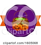 Cauldron And Halloween Jackolantern Pumpkins