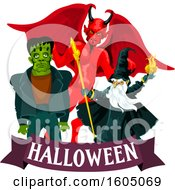 Demon Wizard And Frankenstein Over A Halloween Banner
