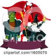 Demon Wizard And Frankenstein Over A Banner