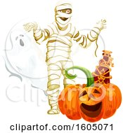 Halloween Ghost Mummy And Jackolantern Pumpkin