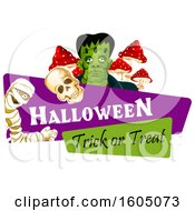 Halloween Trick Or Treat Banner With A Mummy Skull And Frankenstein