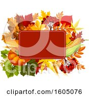 Clipart Of A Fall Frame With Autumn Foliage And Plants Royalty Free Vector Illustration