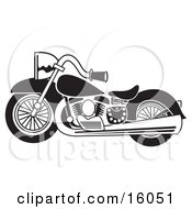 Black And White Motorcycle Clipart Illustration by Andy Nortnik #COLLC16051-0031