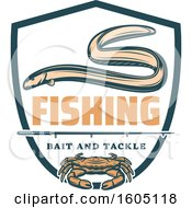 Clipart Of A Fishing Bait And Tackle Crab And Eel Design Royalty Free Vector Illustration