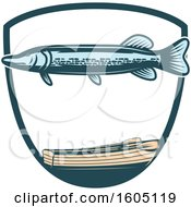 Clipart Of A Fishing Pike And Boat Design Royalty Free Vector Illustration
