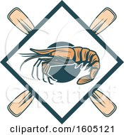 Fishing Design With A Shrimp And Crossed Paddles