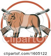 Clipart Of A Buffalo Hunting Design With Rifles In A Circle Royalty Free Vector Illustration