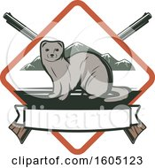 Clipart Of A Weasel Hunting Design With Rifles In A Diamond Royalty Free Vector Illustration