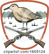Clipart Of A Bird Hunting Design With Rifles In A Shield Royalty Free Vector Illustration