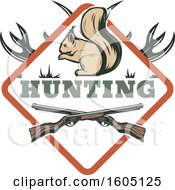 Clipart Of A Hunting Design With Rifles Antlers And A Squirrel In A Diamond Royalty Free Vector Illustration