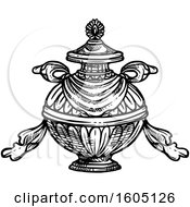 Clipart Of A Sketched Black And White Buddhist Bumpa Treasure Vase Royalty Free Vector Illustration by Vector Tradition SM