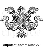 Clipart Of A Sketched Black And White Buddhist Eternal Knot Over A Lotus Flower Royalty Free Vector Illustration by Vector Tradition SM
