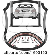Clipart Of A Shield With A Car On A Lift Over A Speedometer Royalty Free Vector Illustration