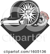 Poster, Art Print Of Car Parts Design With Text Space