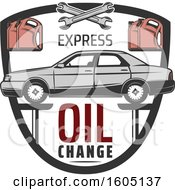 Clipart Of A Shield With A Car On A Lift With Express Oil Change Text Royalty Free Vector Illustration