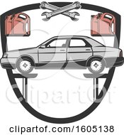 Clipart Of A Shield With A Car On A Lift Royalty Free Vector Illustration