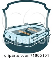 Clipart Of A Shield With A Raft Royalty Free Vector Illustration
