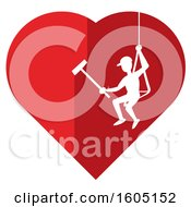 Silhouetted Man Cleaning In A Red Heart With A White Outline
