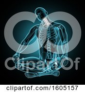 3d Xray Man With Visible Skeleton And Neck Bones Highlighted Over Blue And Black