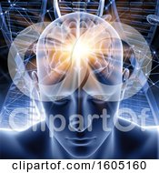 3d Man With Glowing Visible Brain Over Cells And Dna Strands