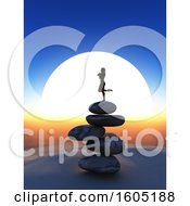 3d Silhouetted Woman Balanced In A Yoga Pose On Rocks Against A Sunset