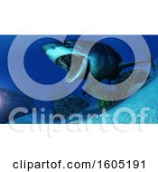 Clipart Of A 3d Swimming White Shark Underwater Royalty Free Illustration