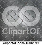 Clipart Of A 3d Chainlink Fence And Metal Background Royalty Free Illustration