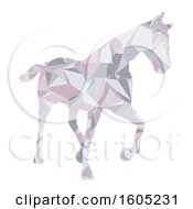 Clipart Of A Low Poly Geometric Horse On A White Background Royalty Free Vector Illustration