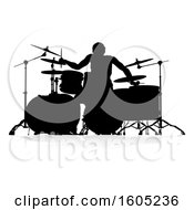 Poster, Art Print Of Silhouetted Male Drummer With A Reflection Or Shadow On A White Background