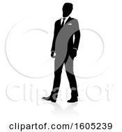 Silhouetted Business Man With A Reflection Or Shadow On A White Background