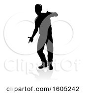 Silhouetted Male Dancer With A Reflection Or Shadow On A White Background