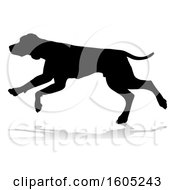 Silhouetted Hound Dog Running With A Reflection Or Shadow On A White Background