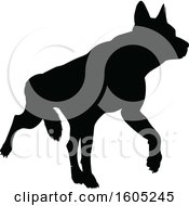 Clipart Of A Black Silhouetted German Shepherd Dog Royalty Free Vector Illustration