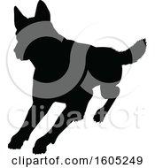Black Silhouetted German Shepherd Dog