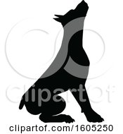 Clipart Of A Black Silhouetted Dobermann Dog Sitting Royalty Free Vector Illustration