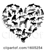 Clipart Of A Heart Made Of Silhouetted Rottweiler Dogs Royalty Free Vector Illustration