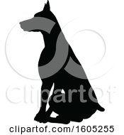 Clipart Of A Black Silhouetted Dobermann Dog Sitting Royalty Free Vector Illustration by AtStockIllustration
