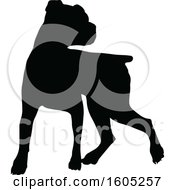 Clipart Of A Black Silhouetted Boxer Dog Royalty Free Vector Illustration