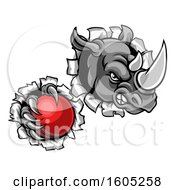 Clipart Of A Tough Rhino Monster Mascot Holding A Cricket Ball In One Clawed Paw And Breaking Through A Wall Royalty Free Vector Illustration