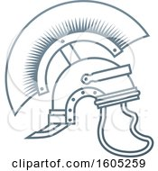 Clipart Of A Gray Trojan Spartan Helmet Royalty Free Vector Illustration by AtStockIllustration