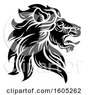 Clipart Of A Black And White Male Lion Coat Of Arms Head Royalty Free Vector Illustration