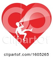 Clipart Of A Silhouetted Cave Explorer Descending In A Heart With A White Outline Royalty Free Vector Illustration